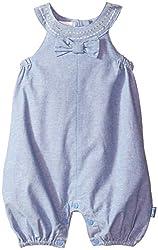 Pumpkin Patch Baby Girls' Saddle Stitch Denim Dungarees, Denim, 12-18 Months