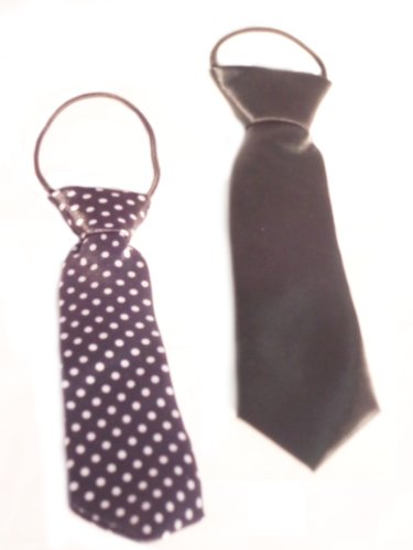 WeGlow International Neck Ties, Black/Black/White Polka Dot, Set of 2 - 1