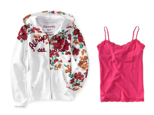 Aeropostale Womens; Juniors Bleach; White (662) Fun and Floral Full Zip Hoodie Coordinated with Aero's Pink (667) Solid Lace Cami; Camisole, Size X-Small (XS)