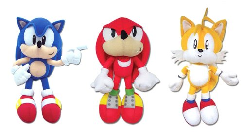 Set of 3 Great Eastern Sonic the Hedgehog Plush - Classic Sonic/Knuckles/Tails