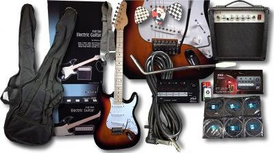 FULL SIZE SUNBURST COMPLETE ELECTRIC GUITAR PACKAGE INCLUDES 15 WATT AMP  &  GUITAR TUNER