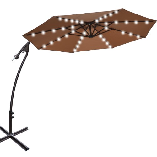 Led Patio Umbrella Reviews: 9' CANTILEVER SOLAR POWERED 40 LED LIGHT PATIO UMBRELLA
