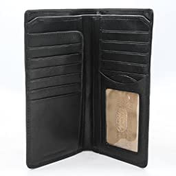 Tony Perotti Mens Italian Cow Leather Bifold Breast Pocket Wallet with ID Window in Black