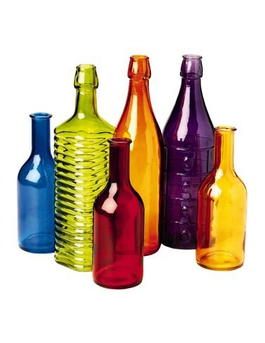 Colored Bottle Tree Bottles, Set of 6