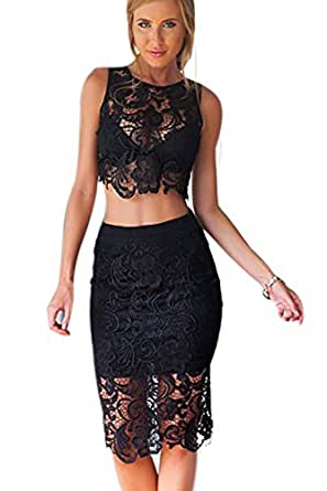 RUIGO® Sexy Lace Sheer Bodycon Hollow Out Party Cocktail Dress Outfit