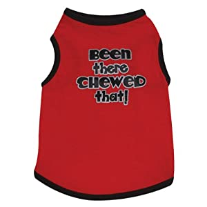 Casual Canine Cotton Been There Chewed That Print Dog Tee, XX-Small, 8-Inch, Red