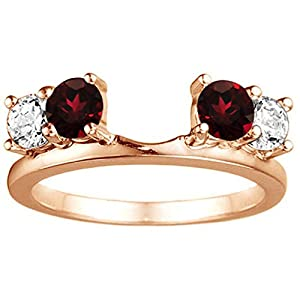 Traditional Style Ring Wrap Enhancer set with Black And White CZ set in Rose Gold Plated Sterling Silver (0.75ct twt.)