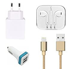 High Quality 2.0 Amp USB Charger, Golden USB Cable, 3.5mm Jack Handsfree, 2 Jack USB Car Charger Compatible With Apple iPhone 5