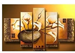 Wieco Art - Yellow Lily Bottle - Large Size Modern 100% Hand Painted Flowers Artwork 5 Panels Floral Oil Paintings on Canvas Wall Art Ready to Hang for Living Room Bedroom Home Decorations II