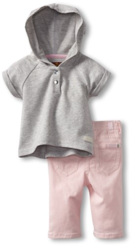 Hot Deal 7 For All Mankind Baby-girls Newborn Hoodie/Jean Set, Heather Grey/Belladona, 3-6 Months  Best Offer