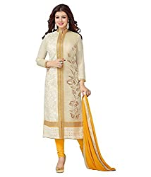 Dharmnandan Fashion Yellow Chanderi& Cotton Dress material