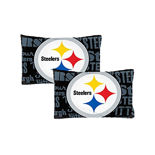 Set Of Two Nfl Pittsburgh Steelers Reversible Pillowcases Football Team Anthem Bedding Accessories