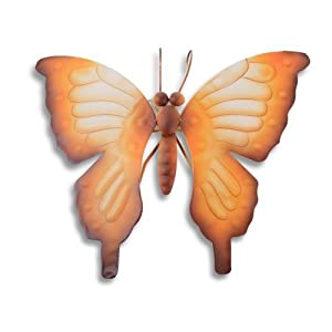 Subtle Rocking Metal Butterfly Wall Art Garden Ornament in Orange Finish from Gardens2You