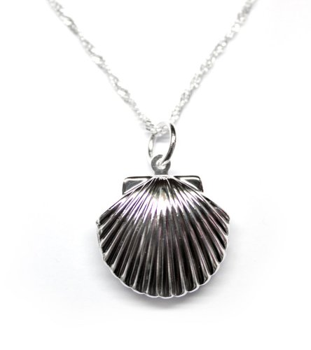 925 Sterling Silver Toned Shell Locket Necklace