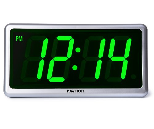 Ivation Big Time Digital LED Clock - Table or Wall Clock - Dimmable LED Display - Great for Elderly People, Offices, Conference Rooms, Lobbies and School Classrooms - Huge 12 Inch - Green