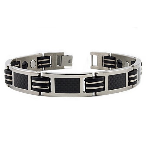 Titanium Men's Bracelet w/ Black Carbon Fiber Inlay & Magnet & Germanium 8.5 Inches