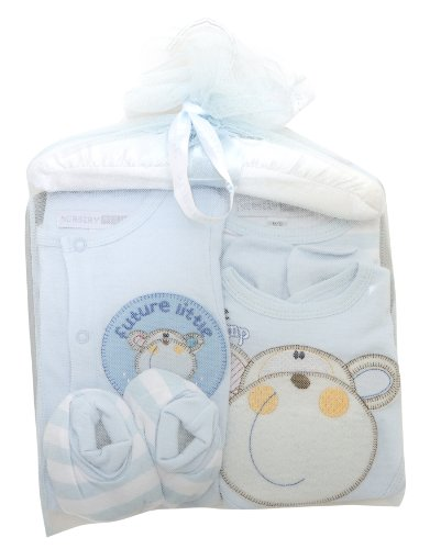 Baby Boy Embroidered Monkey Design 6 Piece Baby Gift Set (Newborn) (Blue)