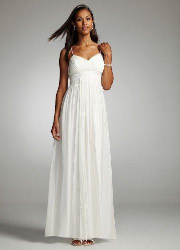 David's Bridal 100% Silk Chiffon Dress with Embellished Waist Style