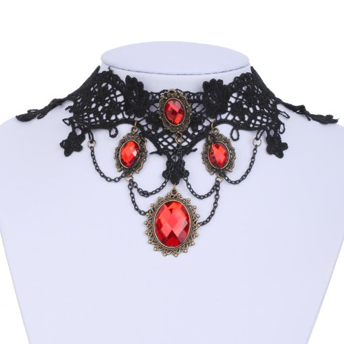 Yazilind Jewelry Lace Collar Necklace Red Glaring