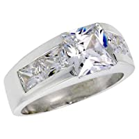 Sterling Silver 3.0 Carat Size Princess Cut Cubic Zirconia Men's Ring (Available in Sizes 8 to 13) size 9