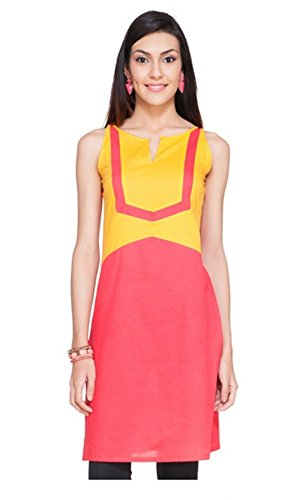 Varibha Girl's Branded Stitched Solid Yellow & Pink Cotton Low Price Kurti (Best Gift For Your Friend, Girlfriend, Wife, Sister, Casual, Free Size alterable till 42) ...
