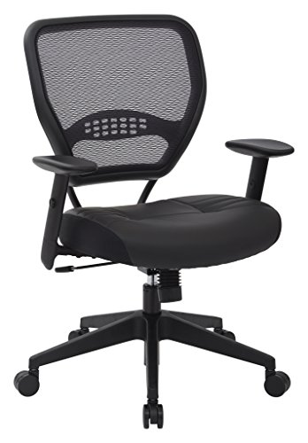 SPACE Seating Professional AirGrid Dark Back and Padded Black Eco Leather Seat, 2-to-1 Synchro Tilt Control, Adjustable Arms and Tilt Tension with Nylon Base Managers Chair Leather Adjustable Arms