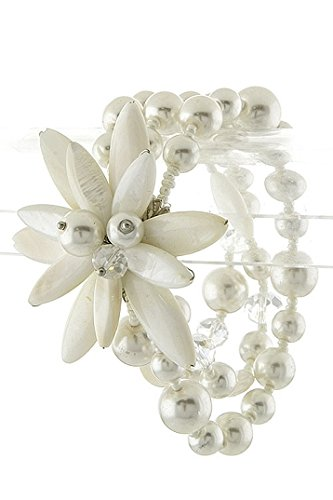Karmas Canvas Pearl Band Floral Bracelet (White)