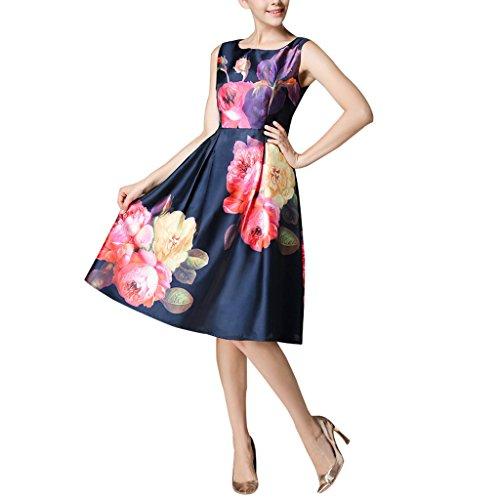 Buenos Ninos Women's Sleeveless Flower Printed Slim Fit Vintage Cocatail Flare Dresses Purplish blue L