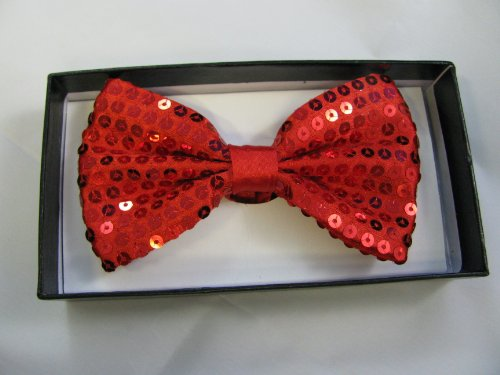 Adjustable 12cm red sequin bow tie in neat display box. Ideal for special occasions or fancy dress.
