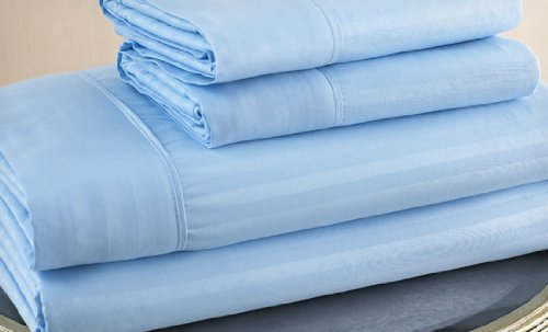 King Size Light Blue 500 Thread Count 100% Cotton Sateen Dobby Stripe Sheet Set front-659827