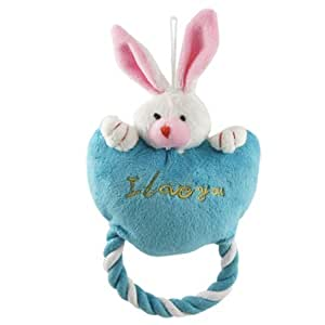 Jardin Loving Heart 2-Tone Ears Rabbit Roped Squeaky Toy for Dog, Blue