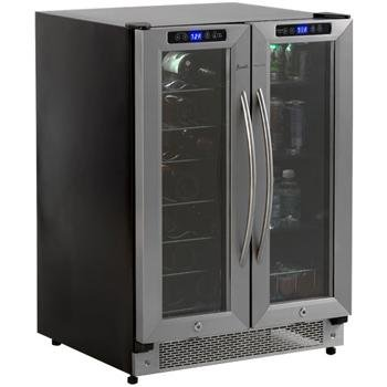 Avanti WBV21DZ 24 Built-in Side by Side Beverage Center, 21 Wine Bottles, 54 Beverage Cans