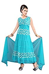 Typify Women's Georgette Unstitched Dress Material (TYPIFY286_Blue_Free Size)