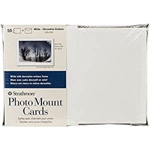 Strathmore 105230 Photomount Strathmore Cards and Envelopes, 5-Inch by 7-Inch, White, 50-Pack