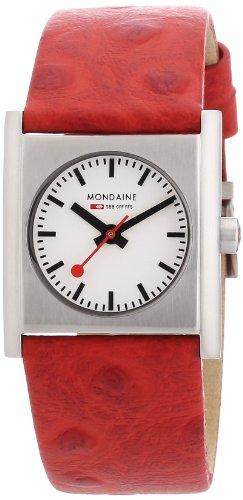 Mondaine A658.30320.26SBC - Reloj de mujer de cuarzo (suizo), correa de piel color rojo
