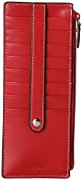 Lodis Audrey Credit Card Case with Zipper Pocket, Red, One Size