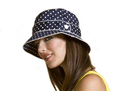 Ladies Cotton Polka Dot Bucket Summer Fashion Hat with Button Detail in Navy and White picture