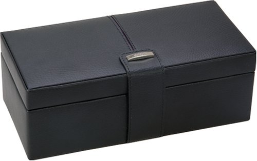 Dulwich Black Leather with Purple Lining Watch & Cufflinks Box