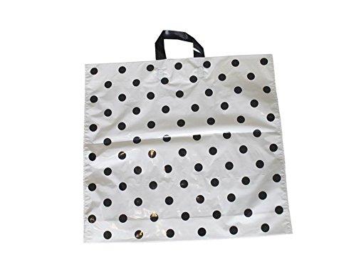 Tragetaschen-LDPE-Plastiktten-Funny-50-x-45-5-cm-Schlaufentasche-Einkaufstten-Beutel-Shopper-wei-Punkte-schwarz-50-Stck