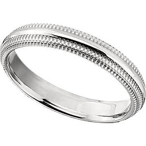 4 mm Comfort Fit Titanium Double Milgrain Ring Size 5.5