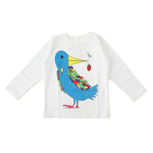 "Mademoiselle Papillon (""Miss Butterfly"") - Tee-Shirt - Long-Sleeve - Bird With Berry"