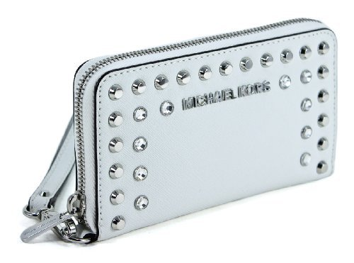 Michael Kors Jet Set Jewel Large Multifunction Phone Case In Optic White
