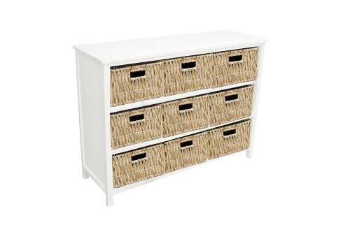 Henley Nine Drawer White Chest / Cabinet with Unlined Rattan Basket Drawers