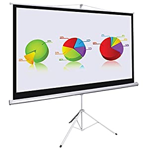 100 Inch 16:9 HD Manual Pull Down Projector Screen Foldable Tripod Stand 87x49