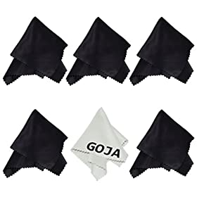 (6 Pack) Ultra Fine Goja Microfiber Cleaning Cloths for LCD screen, Camera Lens, Glasses and other delicate surfaces (5 Black, 1 Grey / Premium 200mg) Removes fingerprints and oil with just a swipe! Perfect for Tablets (iPad, Xoom, Galaxy Tab, Kindle, Nook), Cell Phone (iPhone, HTC, Droid, Android, Blackberry) Laptop and LCD TV screens
