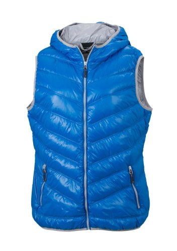 James & Nicholson, Gilet piumino Donna Ladies' Down Vest, Blu (blue/silver), S