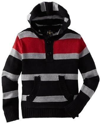 X-Label Little Boys' Stripe Hoodie Sweater, Red Combo, 7