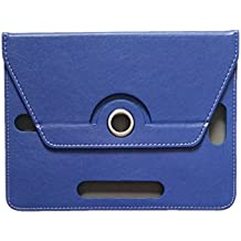 KANICT 360 Rotating 7 Inch Tablet Leather Flip Case Cover Compatible For HCL ME Connect 2G V1 Front Back Book Stand -Blue