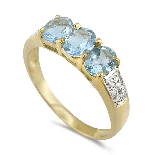 9ct Yellow Gold Ladies 3 Stone Ring Set with Created Aquamarine and 6pts of D...