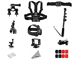 Deyard Moto Mount Kit for Gopro 4/3/3+/2 Handlebar Seatpost Pole Mount+ Vented Helmet Strap Mount+ Head Strap+ Side Mount+ Chest Harness&J-hook+ Clip Clamp Mount+ Monopod& Tripod Adapter+ Curved& Flat Adhesive Mounts+ Frame+ Anti-Fog Insert